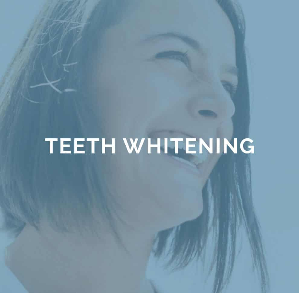 teeth whitening text on transparant blue overlay on smiling womans face