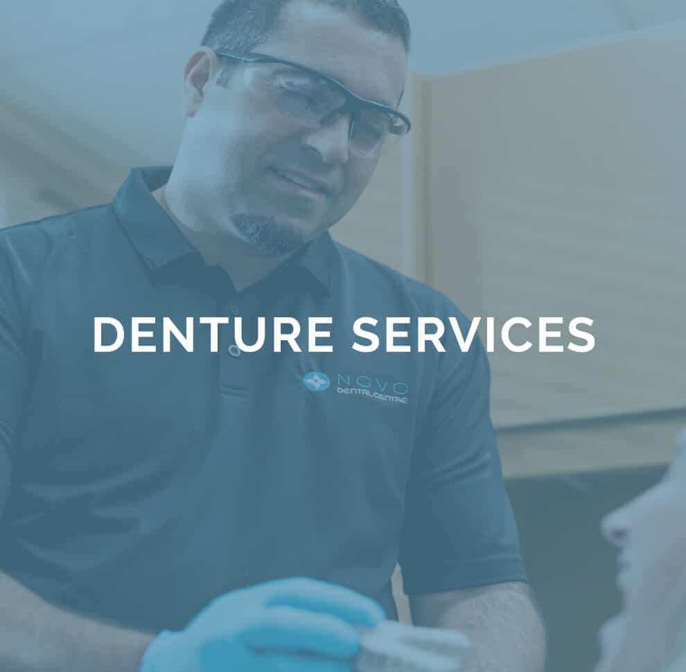 denture services text over transparant blue overlay on top of denturist Ajay Vig