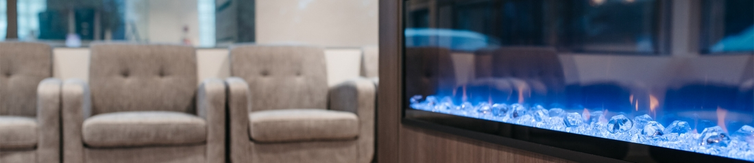 NOVO Dental Centre fire place in waiting area
