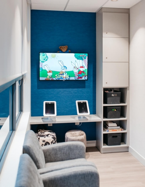 NOVO Dental Centre iPad and children sized seats in waiting area